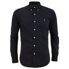 Polo Ralph Lauren Men's Plain Slim Fit Long Sleeve Shirt - Polo Black ($160) ❤ liked on Polyvore featuring men's fashion, men's clothing, men's shirts, men's casual shirts and black