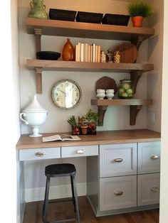 """Style your pantry with open shelving and smart attractive storage solutions. Baskets, containers, pottery, clocks and colorful accessories from HomeGoods makes this """"Mom Central"""" stylish, fresh and functional. Sponsored Happy by Design Post."""