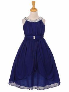 Navy Chiffon Pleated Jeweled Neckline Dress