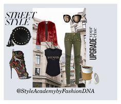 """Street Style Luxe"" by rasheeda-moore ❤ liked on Polyvore featuring Balmain and Giuseppe Zanotti"