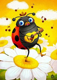 Ladybug playing the Yakety Axe by Miriam Bos | Dutch illustrator, via Flickr