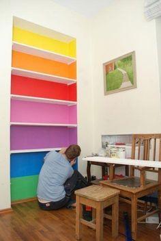 floating shelves for playroom. floating shelves for playroom. Closet Bedroom, Girls Bedroom, Bedroom Decor, Shoe Closet, Rainbow Bedroom, Rainbow Room Kids, Big Girl Rooms, My New Room, Classroom Decor