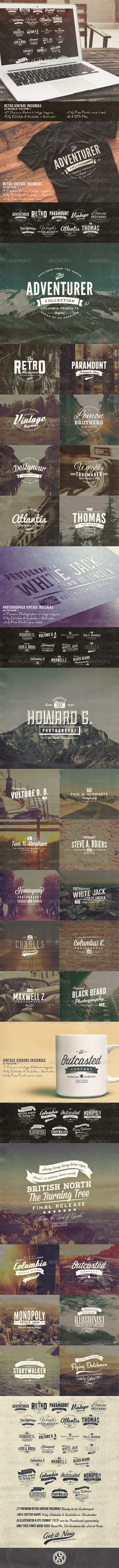 27 Retro Vintage Insignias AI Bundle | Buy and Download: http://graphicriver.net/item/27-retro-vintage-insignias-ai-bundle-volume-1/7741881?WT.ac=category_thumb&WT.z_author=mining&ref=ksioks