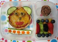 You can create this fun lunch for your child using our individual Gluten-Free pizza crust!