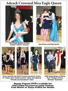 """School newsletter coverage of the elaborate womanless pageant held at Florence Middle School (MS) in 2010 (1 of 2). Many photos of this event are in circulation, but there were once many more. A professional photographer covered the pageant, and she once had hundreds of shots (including some of the """"girls"""" preparing backstage) posted on a Smugmug page that has since disappeared. Note also that a DVD was once sold by the school – I have found at least one WBP fan who bought a copy."""