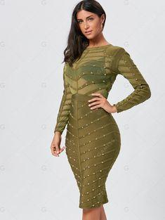 Rivet Semi Sheer Long Sleeve Bandage Dress. Long Sleeve Bandage DressBandage  Dresses OnlineJumpsuitsFashion 2018Frock ... 871e6c7b0a2f