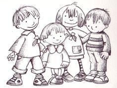 Grup de nens treballat amb bolígraf negre