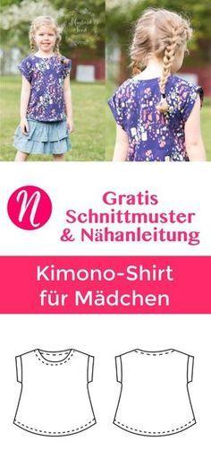 Freebook Kimono T-Shirt für Mädchen ❤ Gr. 2 - 10 ❤ PDF zum Ausdrucken ❤ gratis Schnittmuster mit Anleitung ✂ Jetzt Nähtalente.de besuchen ✂ Free Pattern for a girls Kimono T-Shirt in size 2 - 10. PDF-Sewing-Pattern and sewing instructions.