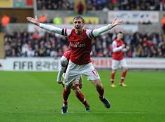 A jubilant Nacho after scoring his first goal for Arsenal! #Swansea v #Arsenal