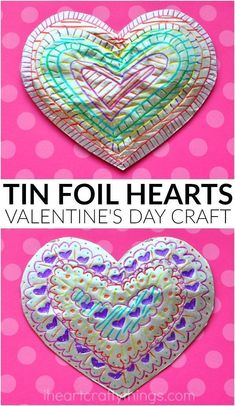 This tin foil heart Valentine's Day craft is shiny and colorful and makes a fabulous craft for kids of all ages. Fun toddler craft and preschool craft.