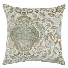 Ornate floral and vine pattern in shades of Venetian Blue and Champagne. Majesty Pillow, $69.95