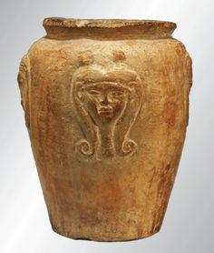 An Egyptian New Kingdom pottery jar, XIXth Dynasty, 1295-1070 BC.