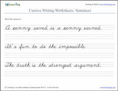 Cursive Sentences Worksheet screenshot from K5 Learning | http://www.k5learning.com/cursive-writing-worksheets/cursive-sentences