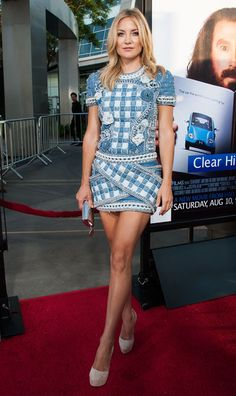 inherglam:  Kate Hudson looked fab in a denim Balmain mini dress at the premiere of HBO Films 'Clear HIstory' in Hollywood!