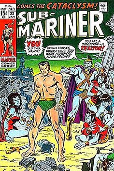 Sub-Mariner 33 1971 color cover by Sal Buscema Marvel Comics Superheroes, Marvel Comic Books, Comic Book Heroes, Comic Books Art, Comic Art, Marvel Heroes, Comic Book Artists, Comic Book Characters, Comic Character