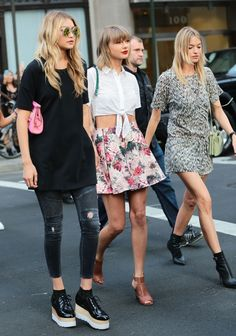 Gigi Hadid, Taylor Swift and Martha Hunt step out in New York. #girlgang #fashion #streetstyle