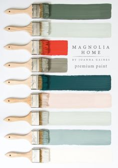 Magnolia Home Paint from Joanna Gaines. Joanna Gaines from Fixer Upper fame and Kilz Paint just launched Magnolia Home Paint that is a stunning collection of beautiful interior home paint colors. Interior Paint Colors, Paint Colors For Home, House Colors, Office Paint Colors, Green Paint Colors, Farmhouse Paint Colors, Pottery Barn Paint Colors, Pottery Barn Fall, Country Paint Colors