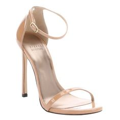 Stuart Weitzman Nude patent leather 'Nudist Aniline' ankle strap... ($323) ❤ liked on Polyvore featuring shoes, sandals, heels, nude, heeled sandals, ankle strap high heel sandals, stiletto sandals, nude high heel sandals and ankle tie sandals
