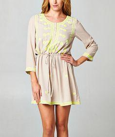 Taupe & Lime A-Line Dress