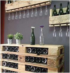 Wine rack made of pallets- Weinregal aus Paletten Pallet-pallet furniture made . - Emma Home Bar En Palette, Diy Wall Art, Wall Decor, Pallet Wine, Pallet Bar, Outdoor Pallet, Pallet Ideas, Pallet Projects, Pallet Benches