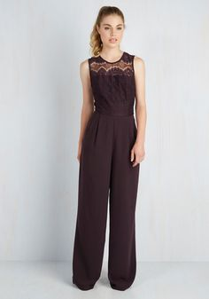 Eloquent Acceptance Speech Jumpsuit by BB Dakota - Red, Solid, Lace, Pockets, Party, Cocktail, Girls Night Out, Boho, Vintage Inspired, 70s, Luxe, High Waist, Wide Leg, Sleeveless, Fall, Winter, Woven, Best, Crew, Red, Jumpsuit, Long