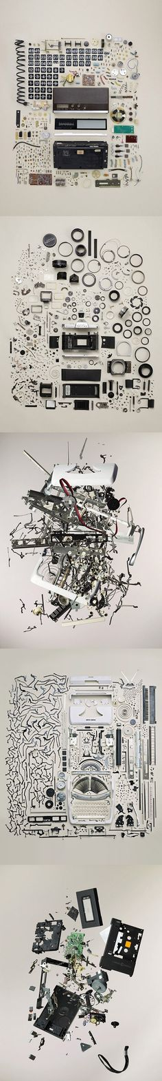 Photographer Todd McLellan deconstructs objects into their smallest components and shoots artful arrangements of the pieces.