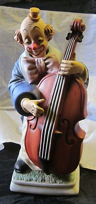 Porcelain CLOWN playing bass figurine/music box~Melody in Motion by WACO