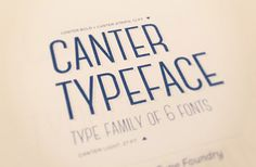 Canter is an all caps, condensed typeface availablein six different weights. It was designed as a display type for titles,headlines, and posters.Designed byChristopher J. LeefromNew York.