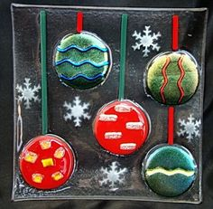 Perfect fused glass Holiday plate to serve those wonderful sugar cookies that you are going to make!  glassconfusion on eBay.