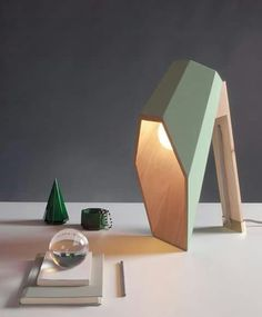 Woodspot Table Lamp - Desk Lamps, Wood Lamps - Woodspot by designer Alessandro Zambelli. The lamp is made in Pine wood with natural finish and assembled and varnished entirely by hand. The diffuser is available in ivory white, flesh … Read Deco Luminaire, Luminaire Design, Blitz Design, Wooden Desk Lamp, Study Lamps, Futuristic Interior, Futuristic Furniture, Wood Design, Design Design