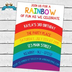 Rainbow Birthday Party Invitation Chevron By LilFacesPrintables 1095 Invitations Fun