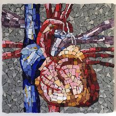 Anatomical Heart in Glass Tile Smalti Mosaic Arteries Anatomy, Anatomical Heart, Heart Art, Mosaics, Spiderman, Glass Art, My Arts, Clay, Hot