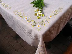 Rustic linen embroidered tablecloth with chamomiles embroidery, handmade linen cloth, hand embroider Linen Tablecloth, Table Linens, Table Covers, Linen Cloth, Wedding Table, Vivid Colors, Hand Embroidery, Garland, Delicate