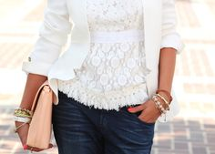 FOR THE LOVE OF PRETTY - white on white, lace with a blazer :)
