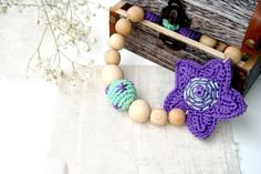 Nursing/ teething necklace Stars Violet by MiracleFromThreads, $29.00