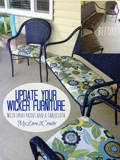 My Love 2 Create: Wicker Furniture Makeover with spray paint and a tablecloth