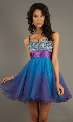 Short Purple Ombre Two Tone Homecoming Dress Spaghetti Straps A Line $227.99 home