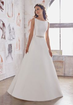 Simple Wedding Dresses Designer Wedding Dresses and Bridal Gowns by Morilee. Simple Yet Elegant, This Satin A-Line Bridal Dress has pockets and features a Jewel Beaded Belt and Straps. Elegant Wedding Dress, Bridal Wedding Dresses, Wedding Dress Styles, Designer Wedding Dresses, Trendy Wedding, Simple Wedding Gowns, Simple Gowns, 2017 Bridal, Wedding White