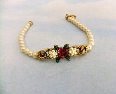 Signed 1928 Faux Pearl Rose Carved Bracelet by ediesbest on Etsy, $12.95