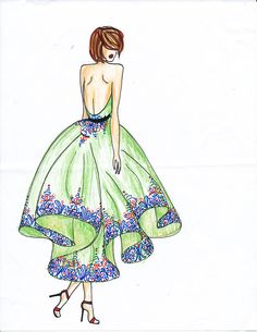 Fashion Illustration - High-low gown