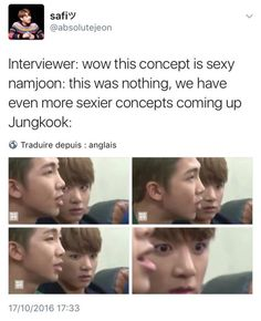 Jungkook's face in this interview, I'm crying!! honestly what happened during this interview that made him like this. Jungkook, more like JungSHOOK amiright??