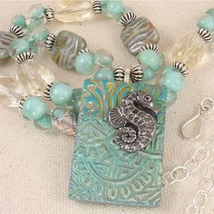 Blue Green Lampwork Glass and Stone Necklace by ArtfulHandJewelry, $125.00