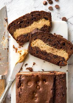 Peanut Butter Cheesecake Stuffed Chocolate Loaf | www.recipetineats.com