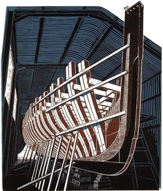 James Dodds ~ Pioneer in a Frame, 2003 (linocut)