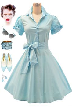 50s Style Lt. AQUA Tie Sleeve Full Skirt Rockabilly PINUP Day Dress w/ SASH Belt #PrivateManufacturer #ShirtDress #Casual