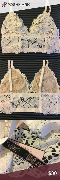 VS very sexy bralette Super comfy stretch lace in coco-white color. Adjustable straps. Elastic back. Brand new! Delicate and sexy  not sold online anymore! Victoria's Secret Intimates & Sleepwear Bras