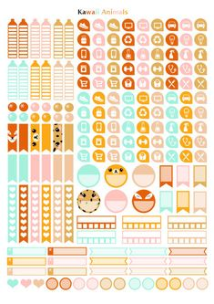 Printable stickers geomectric style animals kawaii | 4 pdf | Instant download…