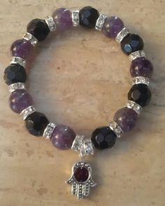 Ametist natural bead & black cristal bracelet....  kamalicreations.blogspot.com