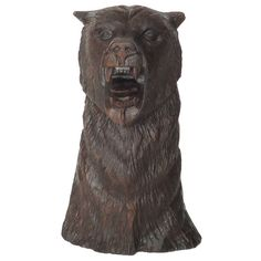 Folky Early 20thc Hand Carved Bear Head From The Midwest