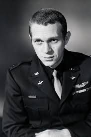 """Stephen """"Steve"""" McQueen (Mar 24, 1930 – Nov 7, 1980) — American actor. In 1947, he joined USMC, was promoted to PFC and assigned to armored unit. Initially demoted to private 7 times,he went AWOL by failing to return after weekend pass had expired & spent 41 days in brig. After this, he resolved to embrace  Marines' discipline. He saved lives of 5 other Marines on Arctic exercise before a tank fell through ice into sea. He served until 1950 & was honorably discharged. Life imitated films!"""